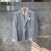 high quality mens linen blazer jacket vintage plaid slim fit suit coat business man office work blazers groom wedding dress top