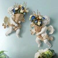 european home wall sculpture angel flower pot vase mural crafts decoration american hanging vintage room decor ornament