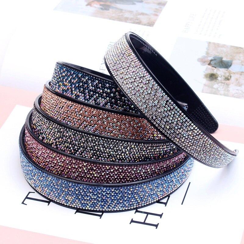 Moda de alta qualidade strass retalhos hairband coreano headdress fixo hairband acessórios feminino cristal bandana jóias