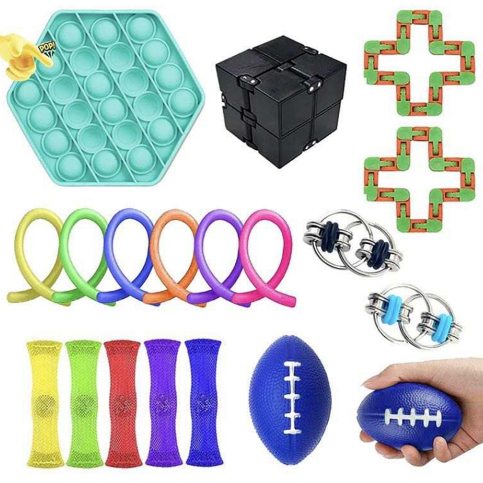 19PCS Fidget Sensory Bubble Toys Set Safe Stress Relief Toy Set Antistress Relief Autism Anxiety Relief Stress Bubble Toys enlarge