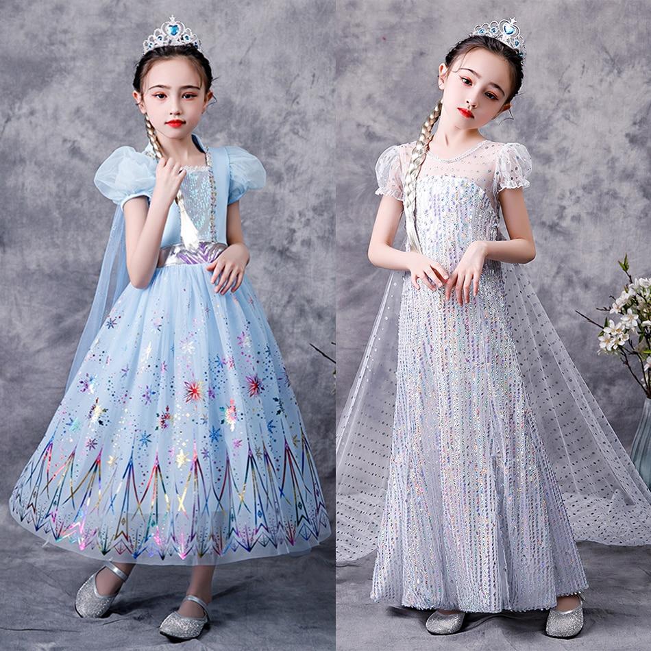 Princesse glace et neige film 2 Elsa jeu de rôle robe filles reine des neiges déguisement fête paillettes robe enfants Cosplay Elza Costume