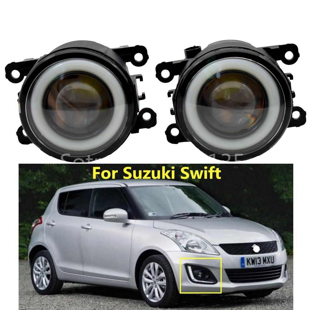 2x Car LED Fog Lights 90mm Round Angel Eye Daytime Running Light  For Suzuki Swift MZ EZ Hatchback 2005-2015