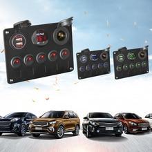 Voltímetro Digital doble puerto USB 12V salida combinación impermeable coche marino Panel de interruptor basculante LED