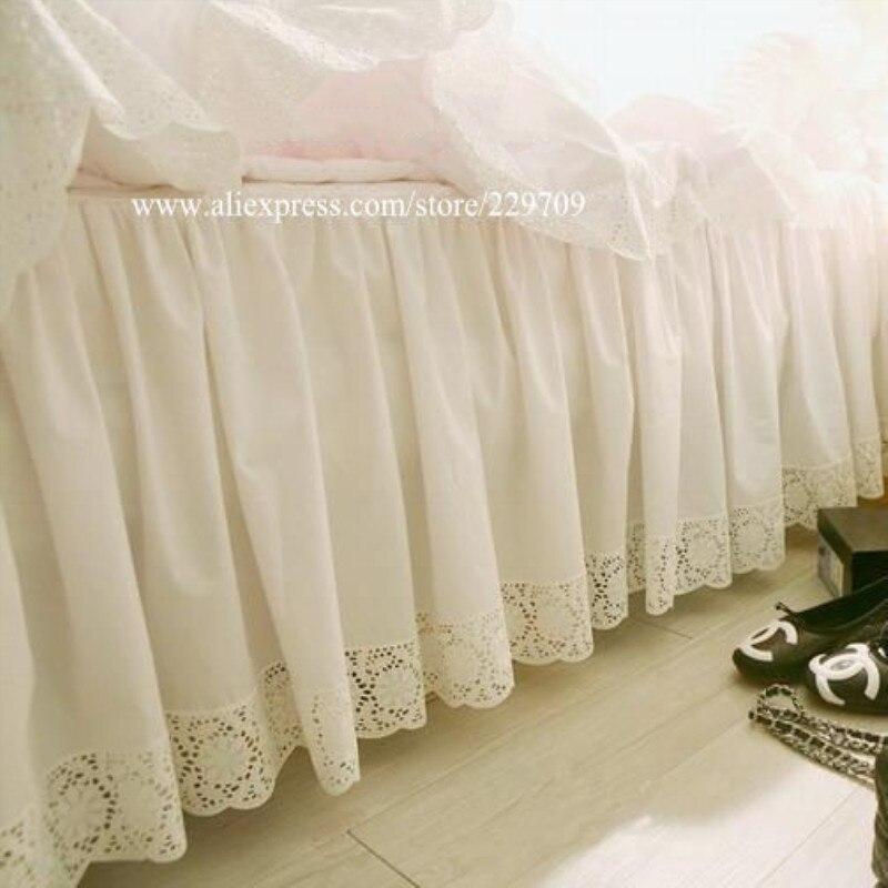 Кружевное сатиновое покрывало с вышивкой в виде подсолнечника, Европейская белая сатиновая кровать высокого качества из чистого хлопка, юб...