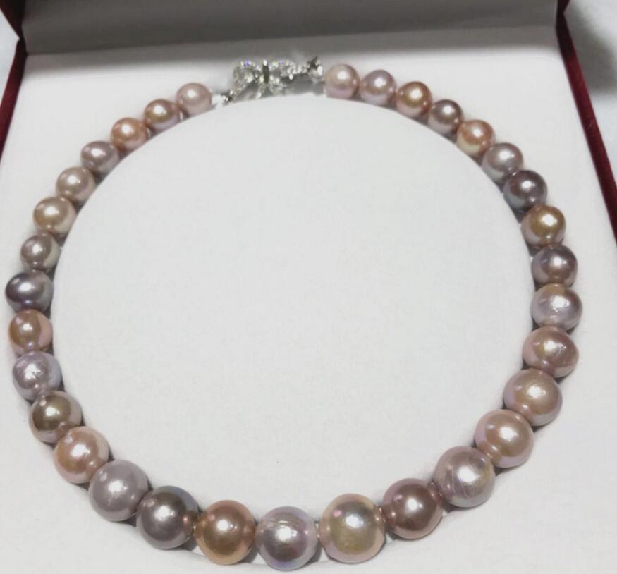 "Envío Gratis solo STRAND12- 13mm natural blanco barroco collar de perlas de agua dulce 18"""