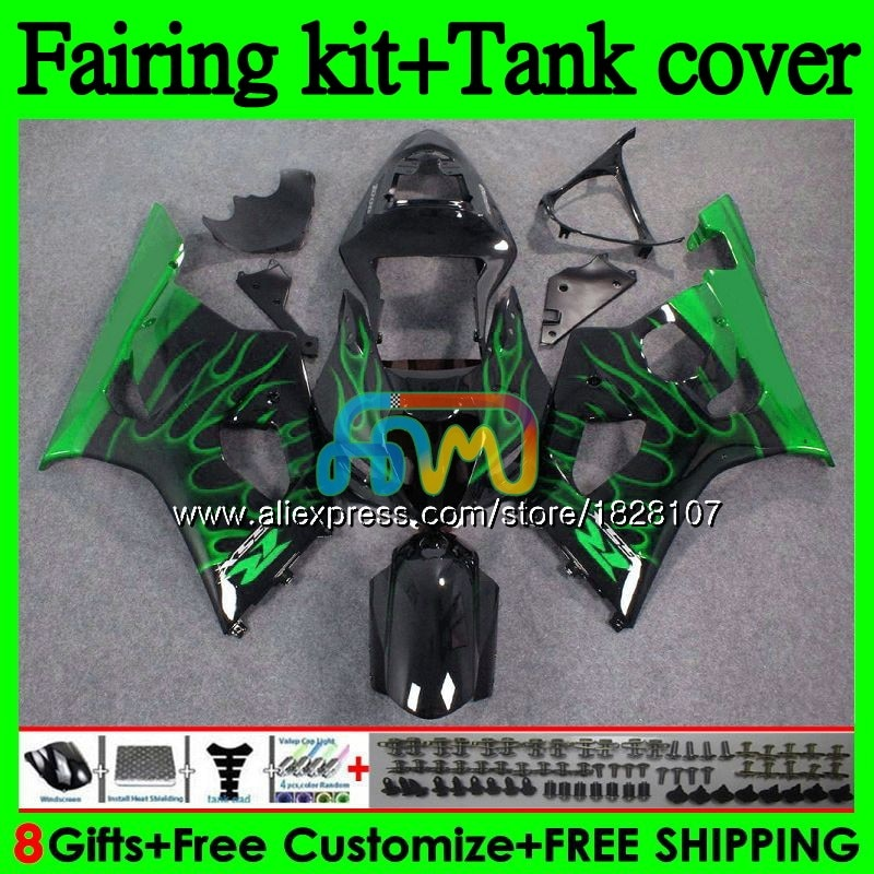 +Tank Body For SUZUKI GSX R1000 K3 GSXR-1000 GSXR1000 1000CC 97BS.213 GSX-R1000 GSXR Green flame 1000 CC 03 04 2003 2004 Fairing