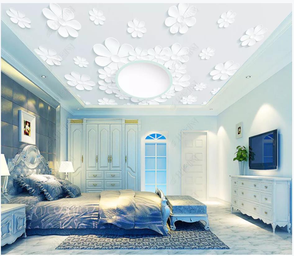 De papeles de pared de fotos Fondo de techo en 3d 3d patrón de flores de techo murales cenitales habitación papeles de pared de fondo