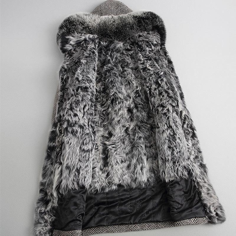 معطف نسائي من جلد الغنم الطبيعي ، جاكيت شتوي دافئ طويل من صوف التويد مع ياقة من فرو الثعلب ، 18118 YQ1990