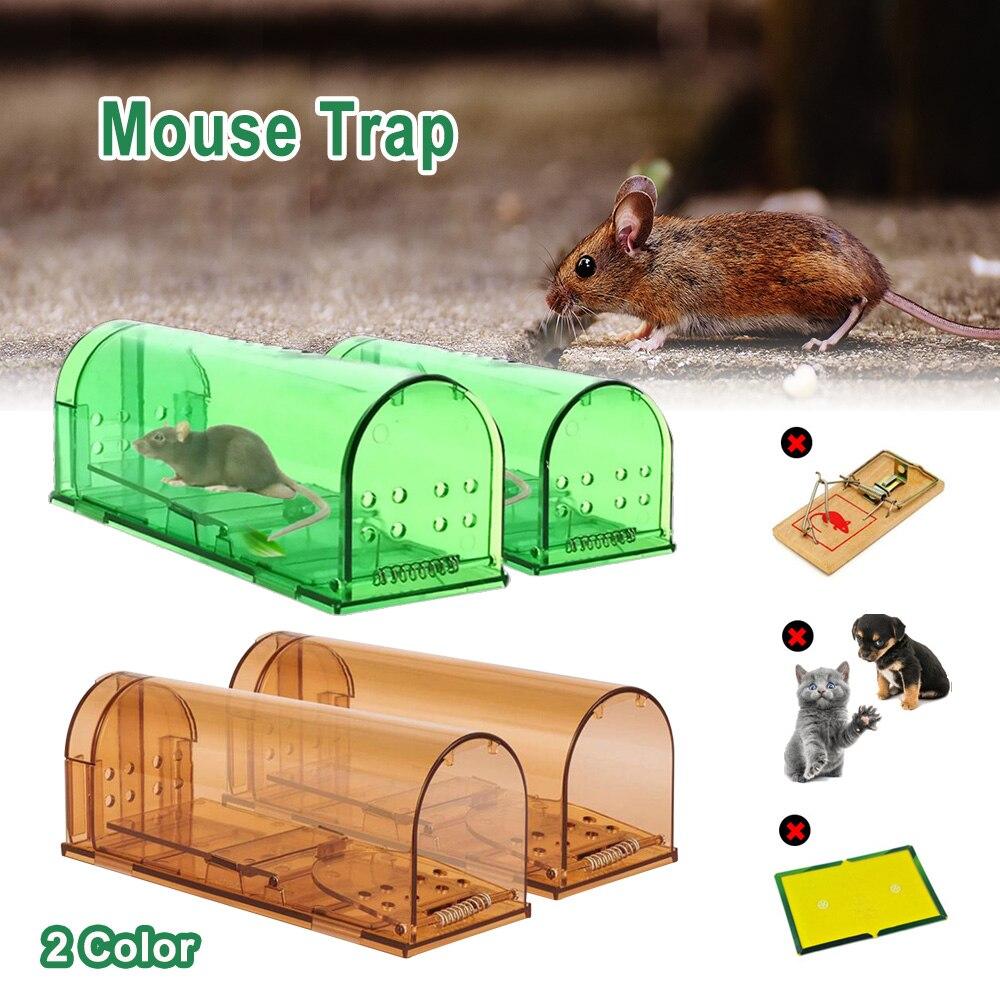 Reusable 2Pcs Humane Mouse Trap No Kill Rodent Catch Live Cage Pet Child Safe