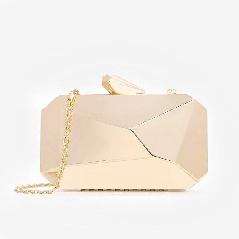 Gold Acrylic Box Geometric bags Clutch Evening Bag Elegent Chain Shoulder Bag for Women 2019 Handbag For Wedding/Dating/Party