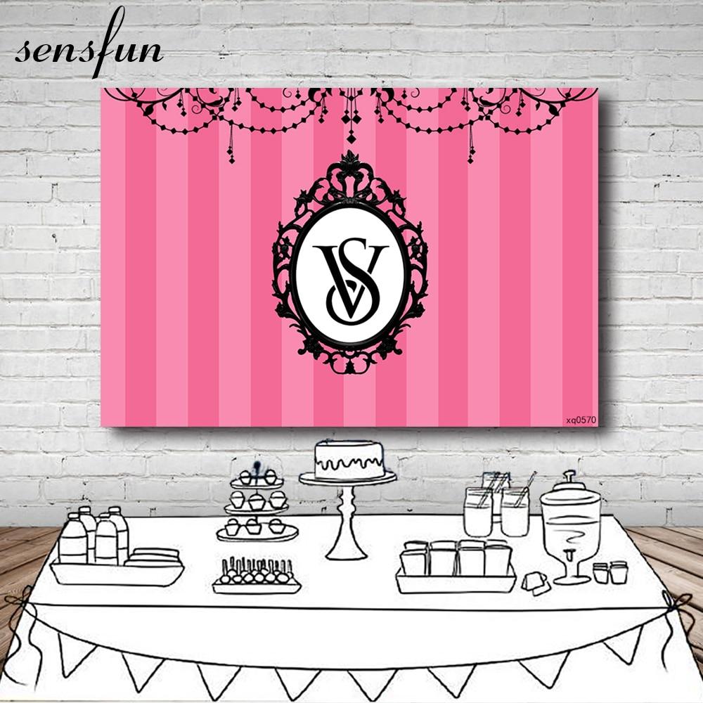 Sensfun Розовый Полосатый Виктория секретный фон для фотостудии девушки день рождения фотография фоны фото плакат
