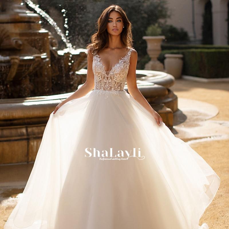 Get Vintage Mermaid Wedding Dresses Soft Satin Beach Bridal Gowns V-neck Sleeveless Lace Appliques Party Gowns Vestido De Novia