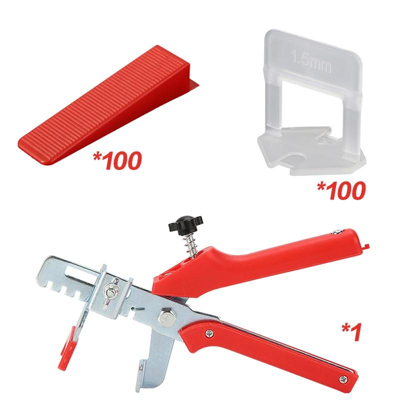 201pcs tile leveling system 1mm/1.5mm/2mm/2.5mm/3mm 100pcs clips+100pcs Wedges +1piece plier plastic tile spacers tiling tools