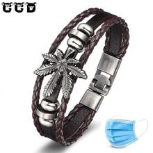 Мужской кожаный браслет в форме листа, повседневные ювелирные изделия в стиле панк-рок, мужские аксессуары, 2019