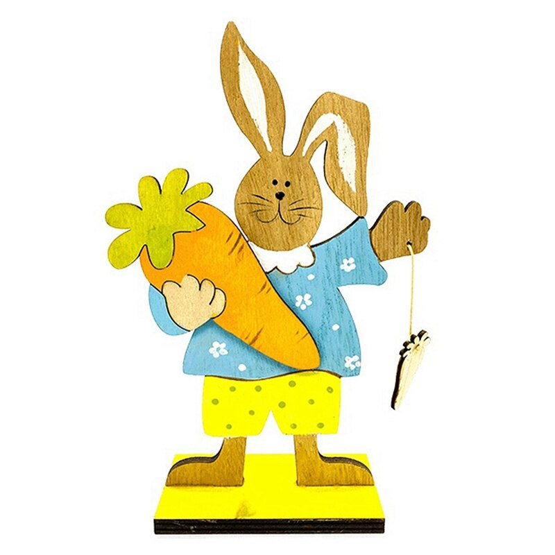 Happy Easter Day Decorations Wooden Rabbit Bunny Carrot Flower Valentine's Day Wedding Party Ornament DIY Decor