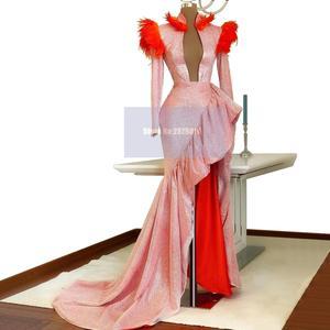 Deep V-Neck Pink Mermaid Evening Dress Floor-Length Feathers Sequins Prom Dress Robe De Soiree Aibye Night Vestidos 2020 Dubai