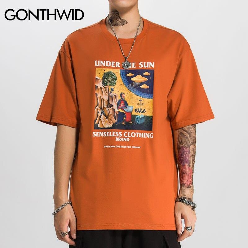 GONTHWID Funny Jesus Aliens UFO Print Short Sleeve T Shirts Hip Hop Casual Streetwear Tshirts Men Hipster 2020 Summer Tops Tees