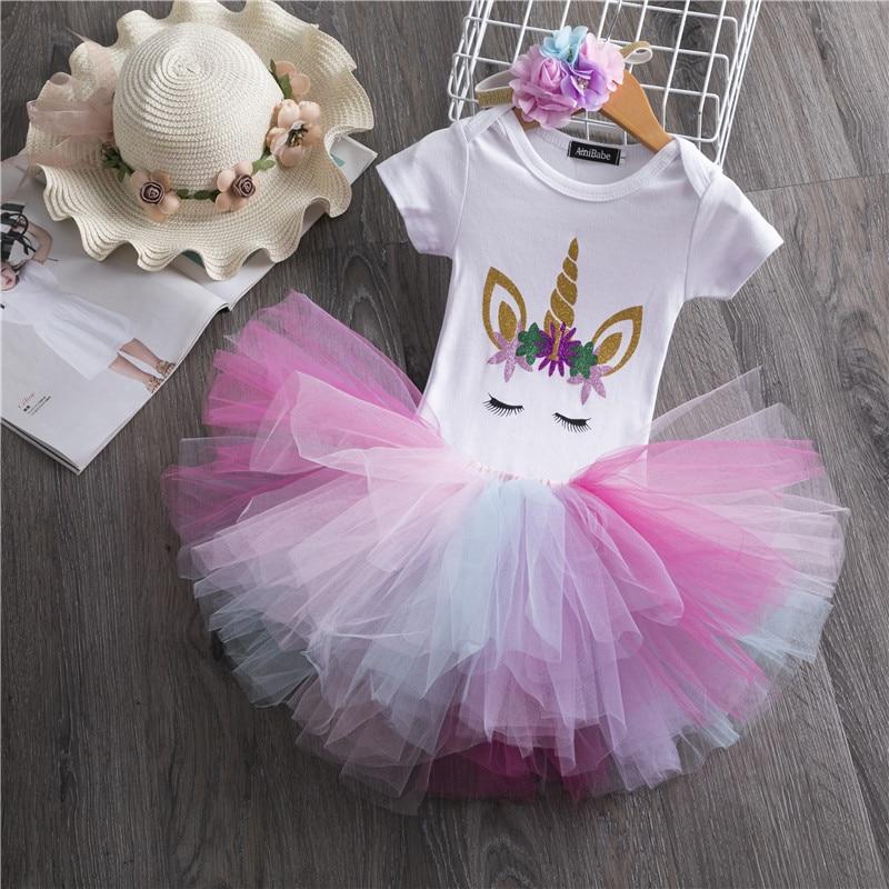 1 año bebé niña vestido unicornio fiesta tutú niñas vestido recién nacido niñas 1 er cumpleaños trajes niño niñas Photoshoot disfraz