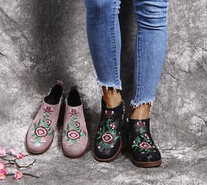 Large Size35-43 Ankle Woman Boot Embroidery Folk Style Martin Boots Autumn Winter New Female Shoes Zapatos De Mujer