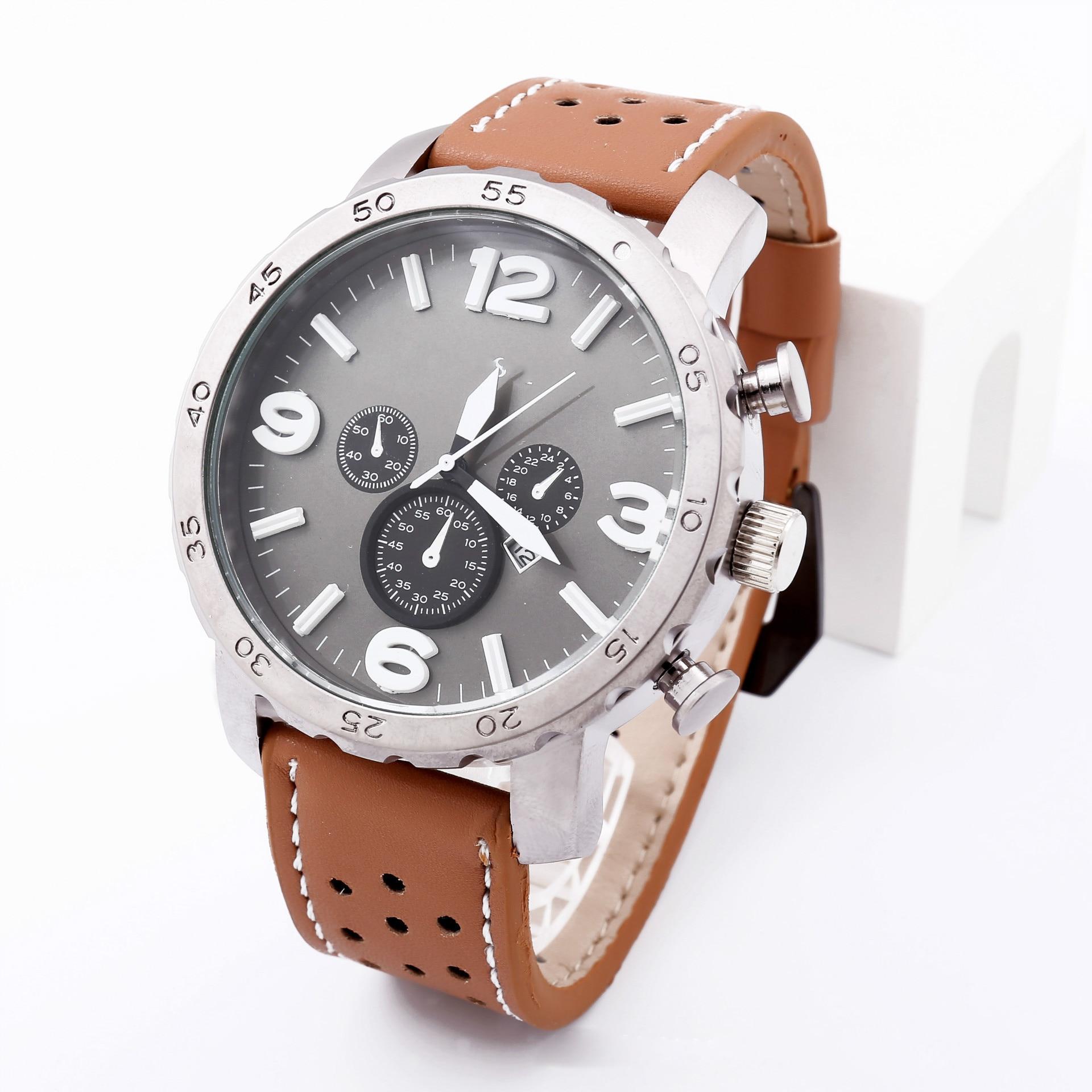 Marca de Luxo Relógio de Quartzo Relógio de Moda Nova Negócios Couro Pulseira Estilo Casual Calendário Masculino 2021