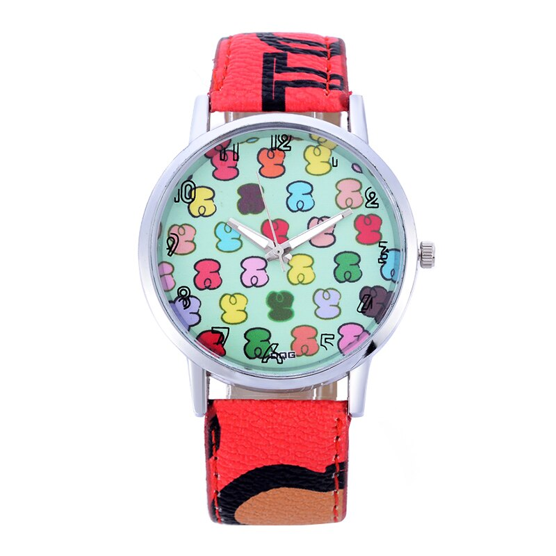 Hot Sale Montres Femmes Women 's Watches Fashion Leather Bear Stainless Steel Ladies Belt Quartz Gir
