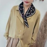 elegant small silk collar scarf women hair band head neck geometric print scarves