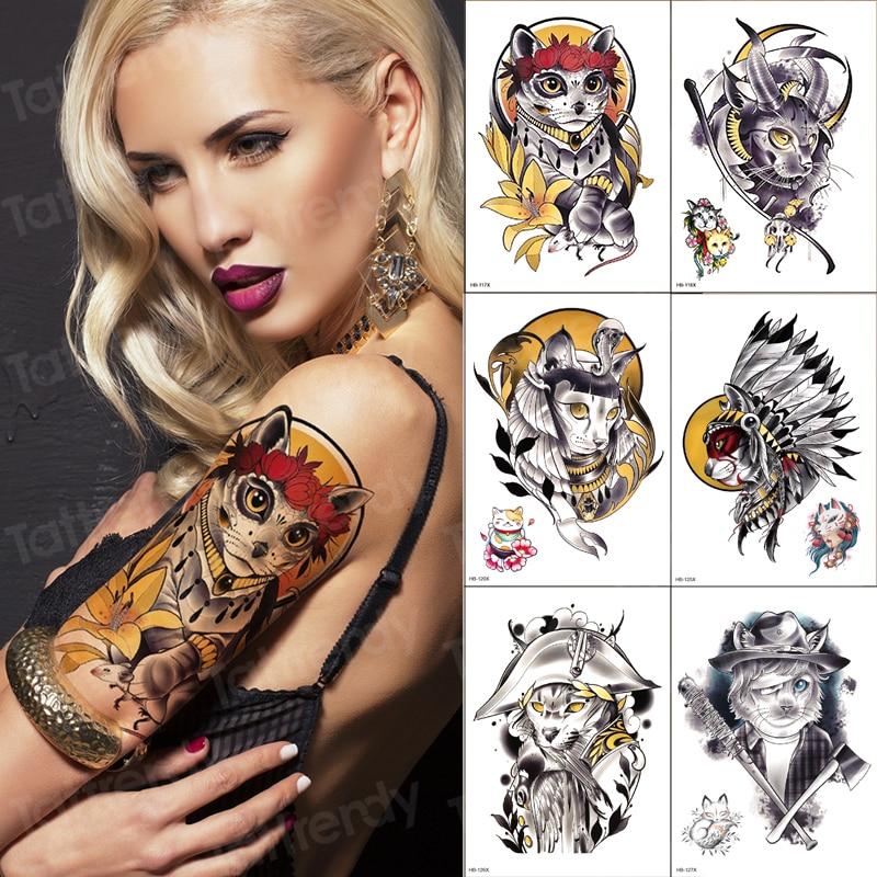 6 unids/pack manga tatuaje chica sexy gato falso tatuaje a prueba de agua color agua brazo tatuaje temporal pegatina mujeres calcomanía tribal sets