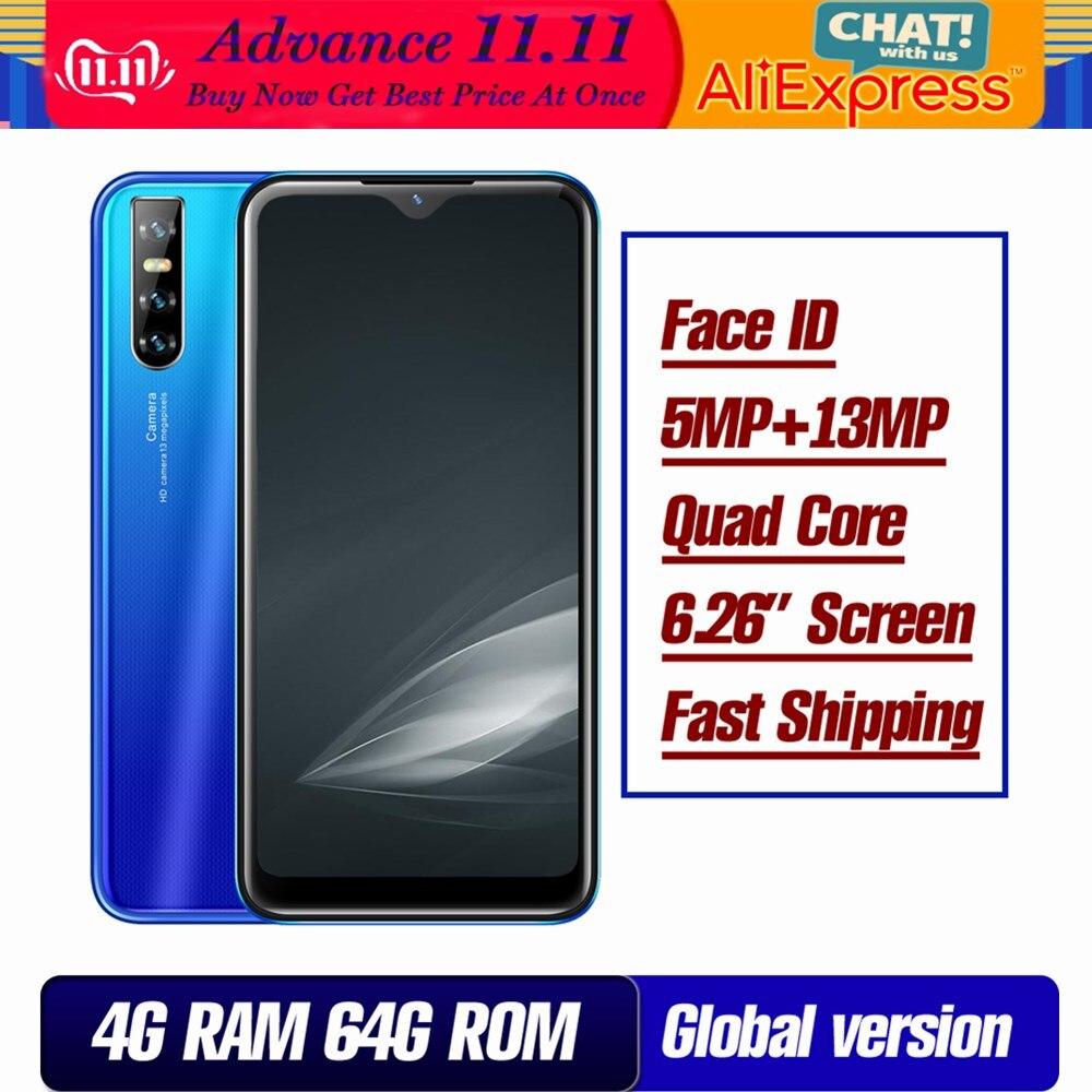 9A النسخة العالمية للهواتف الذكية 32G/64G ROM 4GRAM شاشة قطرة الماء 6.26 بوصة 13mp معرف الوجه غير مقفلة الهواتف المحمولة 4G LTE
