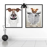 sit on the toilet cute dog nordic style canvas poster bathroom decor adorable animal hd spray painting wall art picture