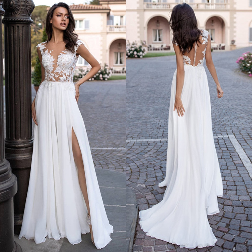 Chiffon A-line Wedding Dress V-neck Applique White Ivory Bridal Gown With Slit Свадебное Платье Robe De Mariage Vestido De Noiva