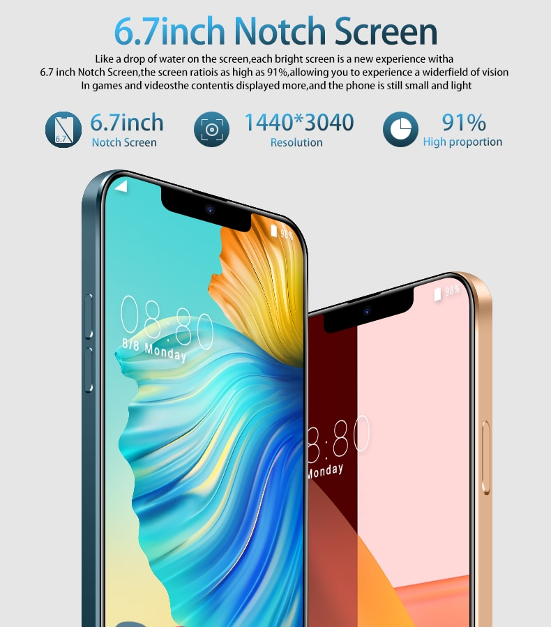Global Version Hot Sale i12 Pro Max Smartphone 12G 512G 7.2 Inch Snapdragon 888 Mobile Phone Face ID
