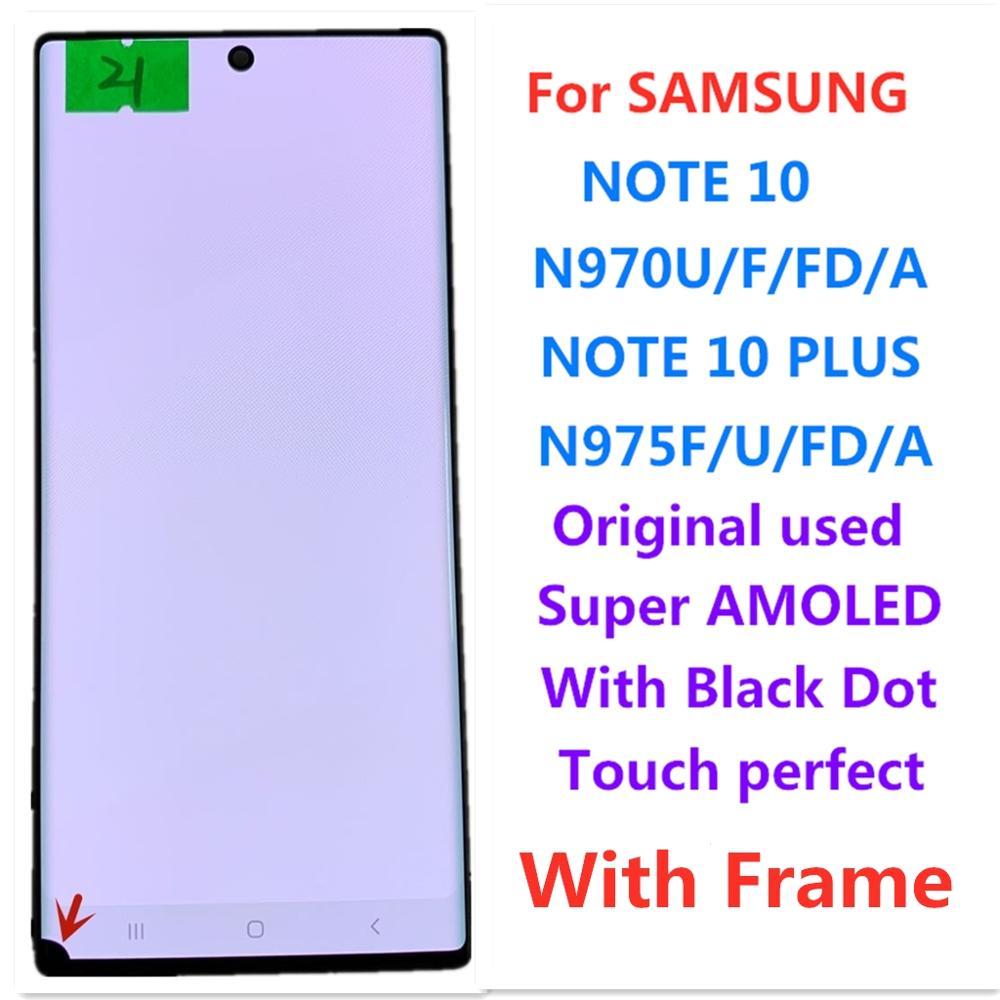 شاشة lcd تعمل باللمس لجهاز Samsung note10 n970 note10 plus n975 note10 +, شاشة AMOLED أصلية تعمل باللمس