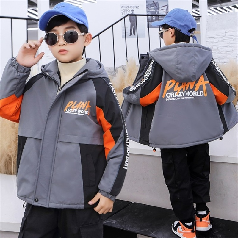 Boys' coat autumn and winter big children's fleece-lined thick winter clothes children's western style winter boy's clothing enlarge