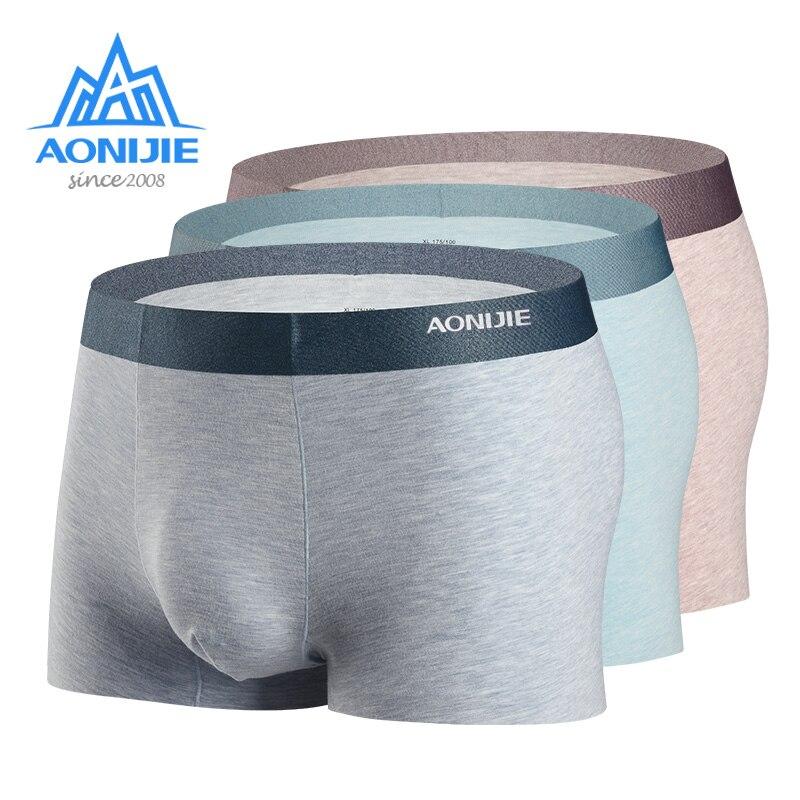 AONIJIE 3 paquetes EF005 de secado rápido para hombre, ropa interior Boxer de rendimiento deportivo, ropa interior de micromodal de seda de mora con caja de regalo de Metal