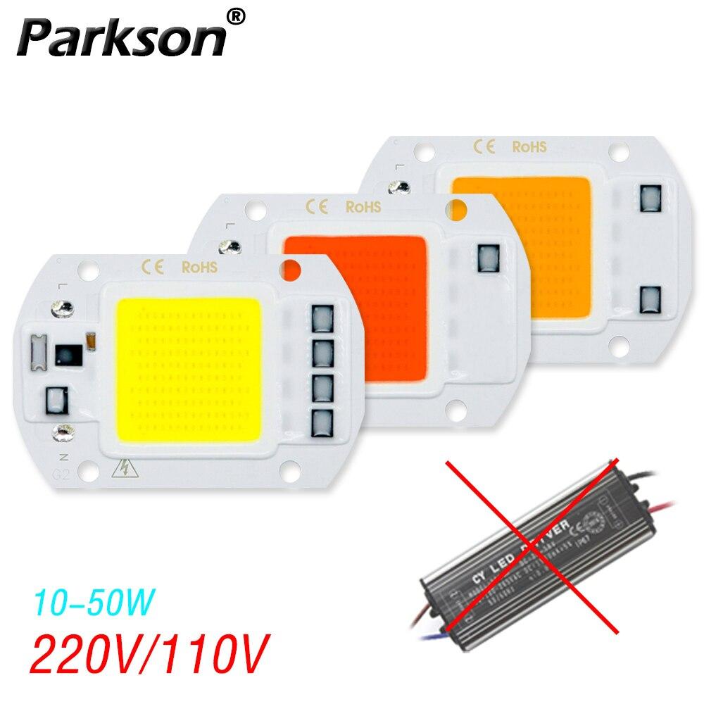 Cob LED Chip 220V 110V 50W 30W 20W 10W proyector luz LED No necesita controlador Smar IC para las plantas del hogar matriz reflector punto de luz
