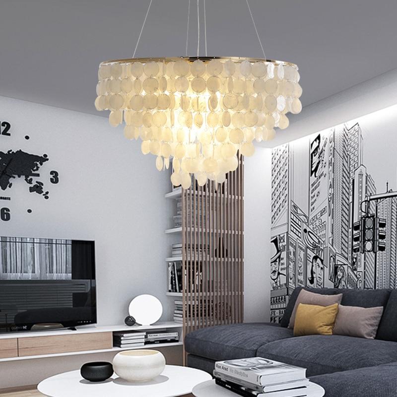 الحديثة الأبيض قذيفة قلادة ضوء مطعم فندق قابل للتعديل الذهب معدن سقف معلق تركيبات إضاءة الإنارة المنزل تعليق