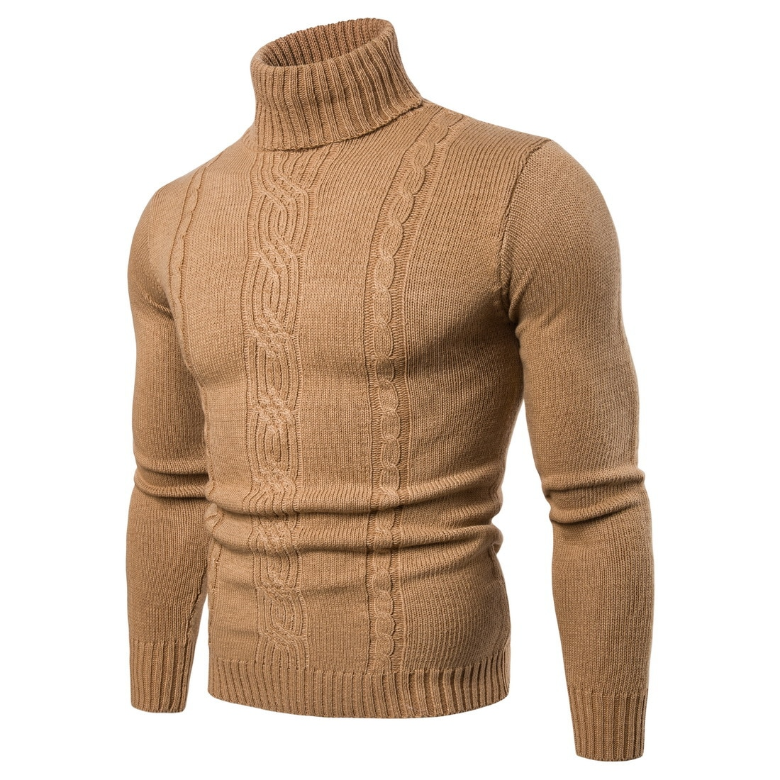 2019 Otoño Invierno jerseys de cuello alto para hombre suéter de punto informal cálido de manga larga camisa de fondo de tela masculina de talla grande 2XL