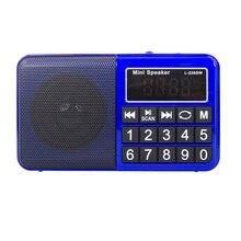 L-238SW Mini Portable Digital Multi Full Band FM Am Mw Sw Radio Receiver Support From Tf Card and USB Flash Drive(Blue)