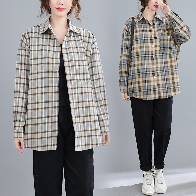 2021 Spring New Artistic Retro Cotton Linen Plaid Blouse Loose Long Sleeve Shirt Casual All-Matching