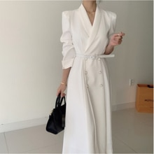 Spring Elegant Windbreaker Women's White Maxi Dress Korean Clothing Femme Robe Slim Suit Collar Doub