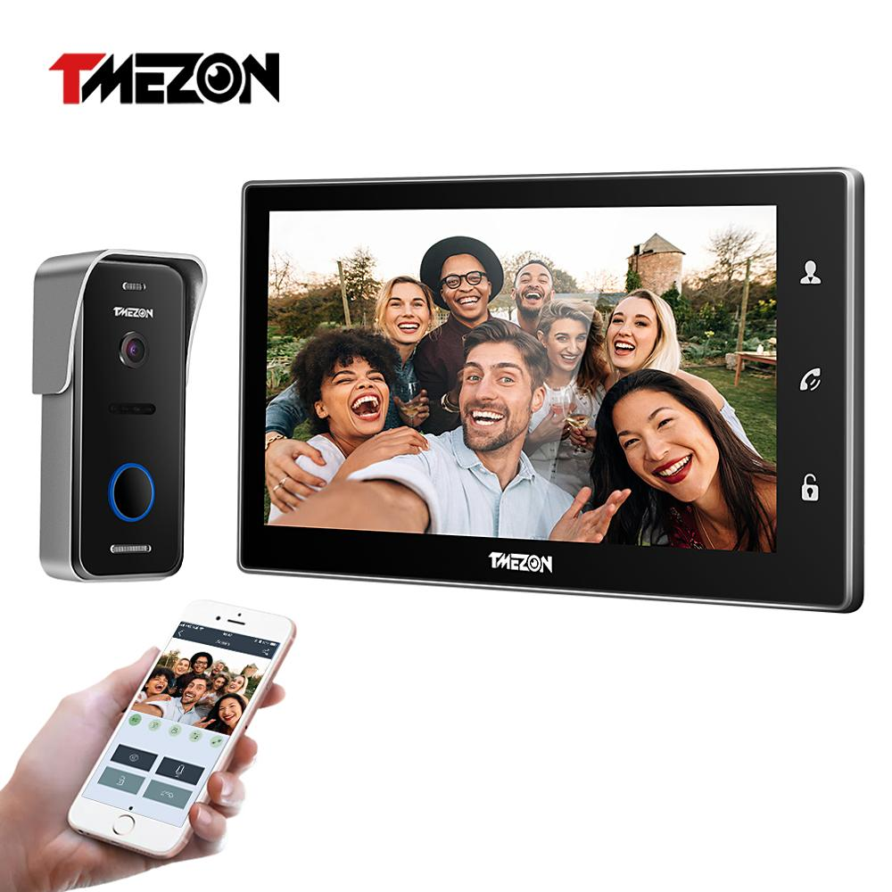 TMEZON 10 Inch Wireless Wifi Smart IP Video Doorbell Intercom System ,1xTouch Screen Monitor with 1x