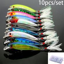 10 Uds. Señuelos de Pesca 3D Crankbaits anzuelo pececillo que flota cebos aparejos manivela pesca Kit 9 cm/8g