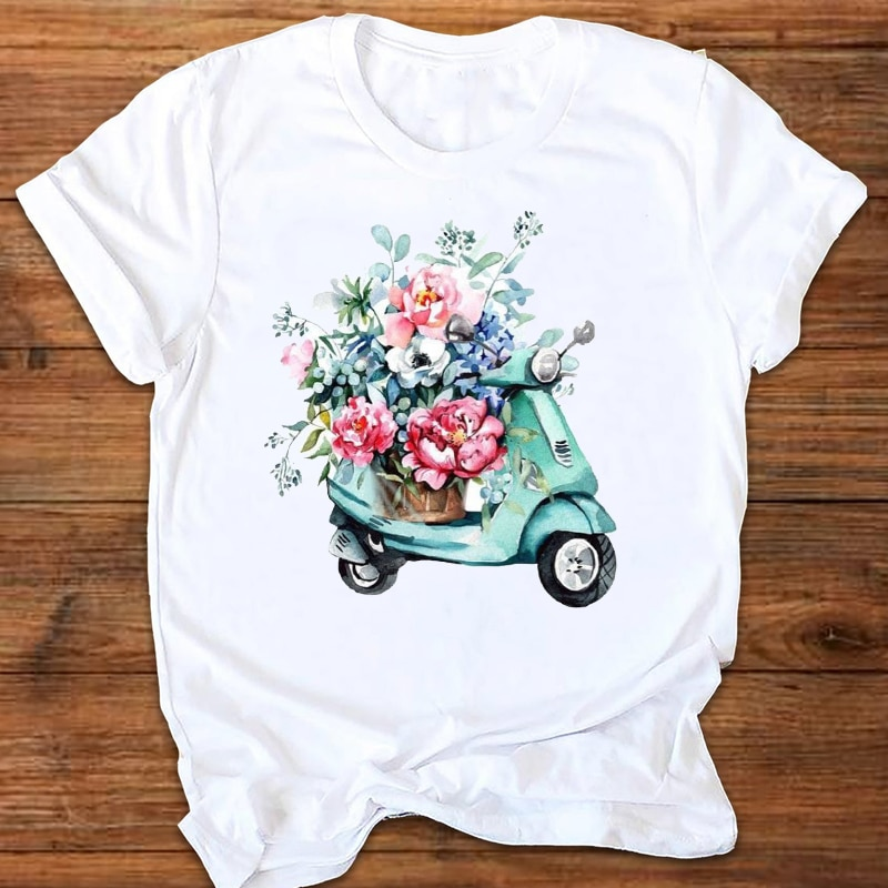 Fashion T shirt Aesthetic Electric car Print Tshirt Harajuku T shirt Short Sleeve tshirt Summer Casu