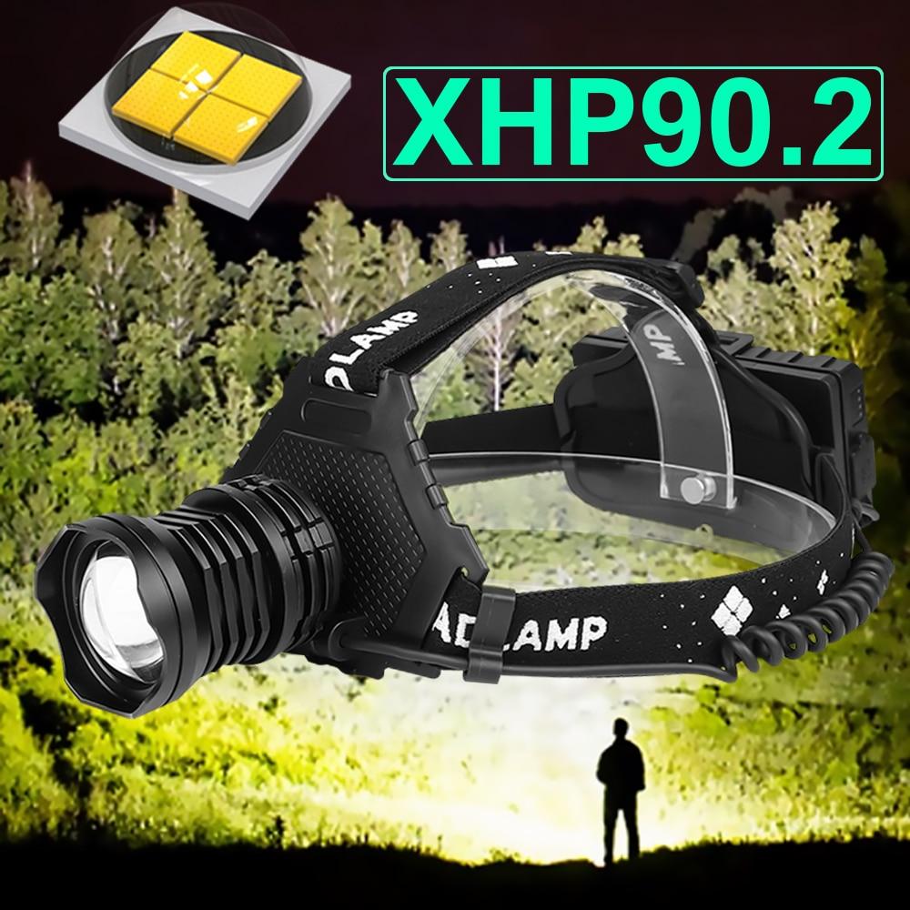 Xhp90.2 lanterna de cabeça de led, usb, poderosa, recarregável, 18650, portátil, xhp50, pesca, caça