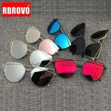 RBROVO-lunettes De soleil rétro œil De chat   2018, lunettes réfléchissants en métal Vintage pour femmes, miroir Oculos De Sol Gafas