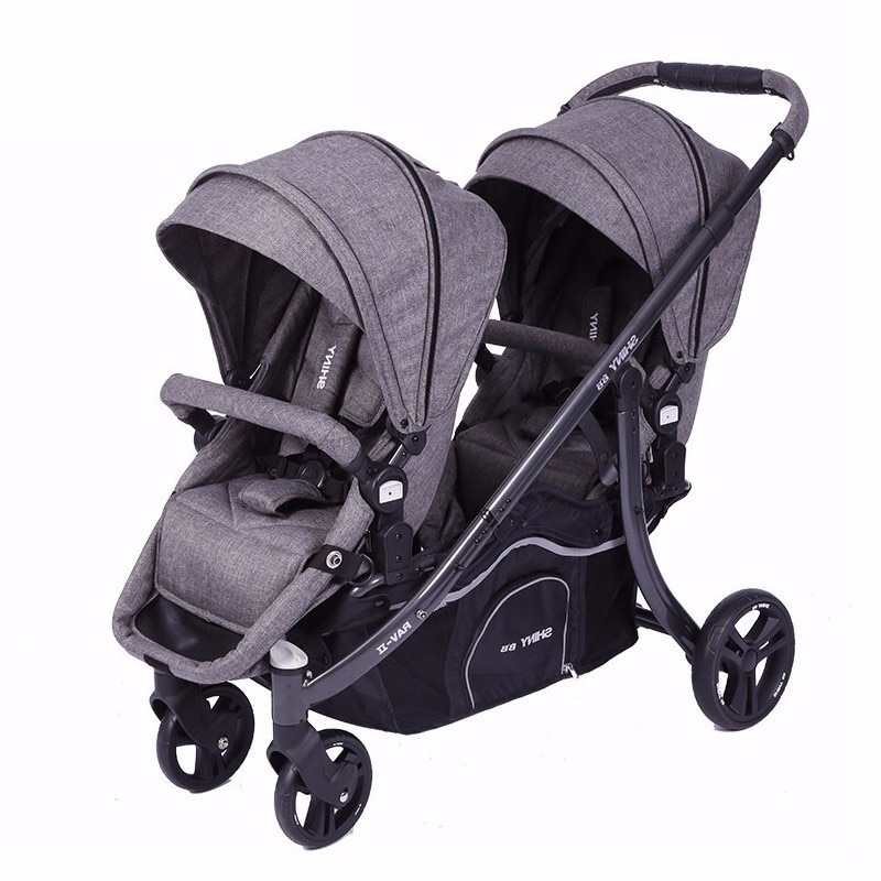 Twin Baby Stroller Light Folding Sitting and Lying Detachable Front and Back of Summer Car for Two Children Baby Stroller 2 In 1