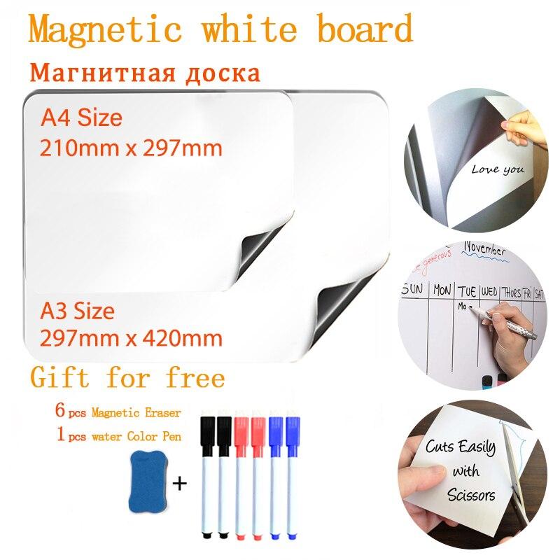 Мягкая магнитная доска, 2 шт., размер A3 и Размер A4 для холодильника, сухой ластик, доска для сообщений, детская доска ежемесячный недельный пл...