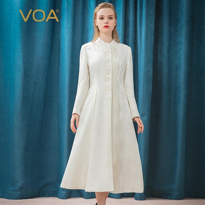 VOA-ياقة جاكار ثقيلة 38 مللي متر ، حرير أبيض ، ورقة لصق ، طيات تاكر ، معطف صدر واحد F566