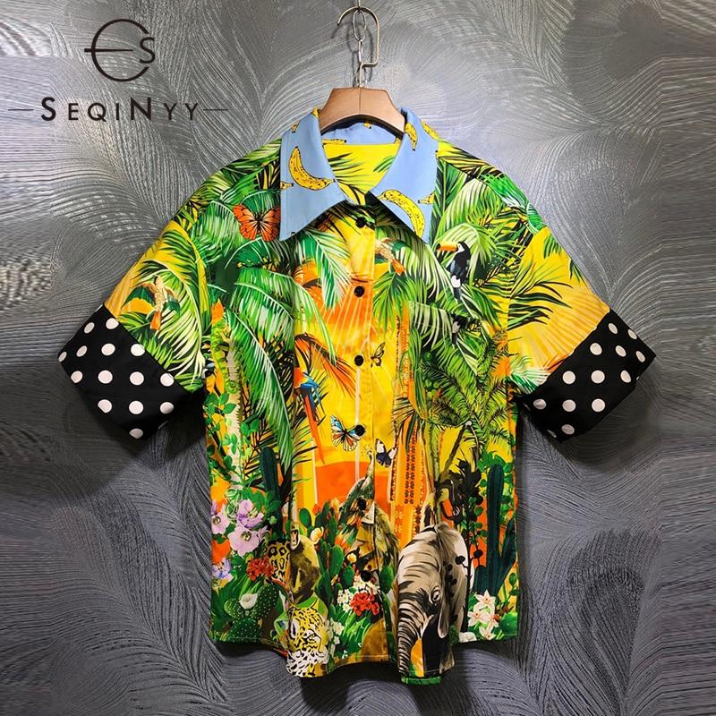 SEQINYY Fashion Top 2020 Summer Spring New Design Women Short Sleeve Dot Green Palm Leaf Banana Print Shirt