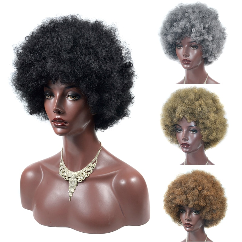 Afro Wig Women Short Fluffy Hair Wigs with Bangs For Black Women Kinky curly Synthetic Hair For Party Dance Cosplay Wigs